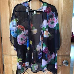 Pretty Black Floral Print Overshirt 3X
